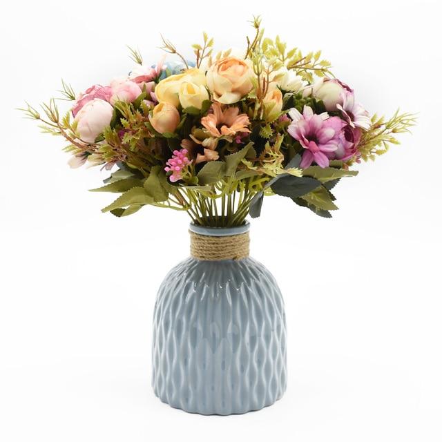 Multicolor Tea Roses Vases for Home Decoration Accessories Fake Daisy Plastic Plants Wedding Decorative Artificial Flowers Cheap 3