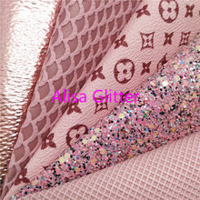 1PCS A4 MAAT 21X29cm Alisa Glitter Roze Glitter Stof, Mermaid Faux Leer Stof, synthetisch Leer PU voor Bow DIY E02D(China)