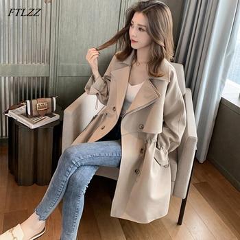FTLZZ Women Windbreaker Spring Autumn Classic Trench Coat Casual Thin Female Overcoat Long Coat Female Slim Outwear Coats 1