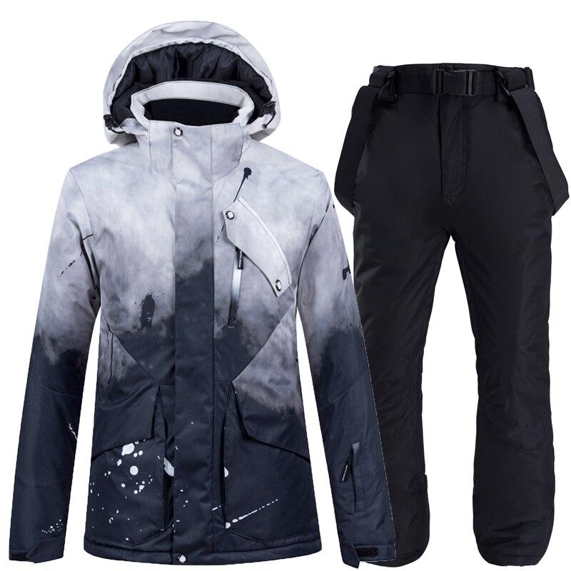 -30 New Black Colorful Women Snow Suit Wear Snowboarding Clothing Waterproof Windproof Winter Sports Ski Coat + Strap Snow Pant
