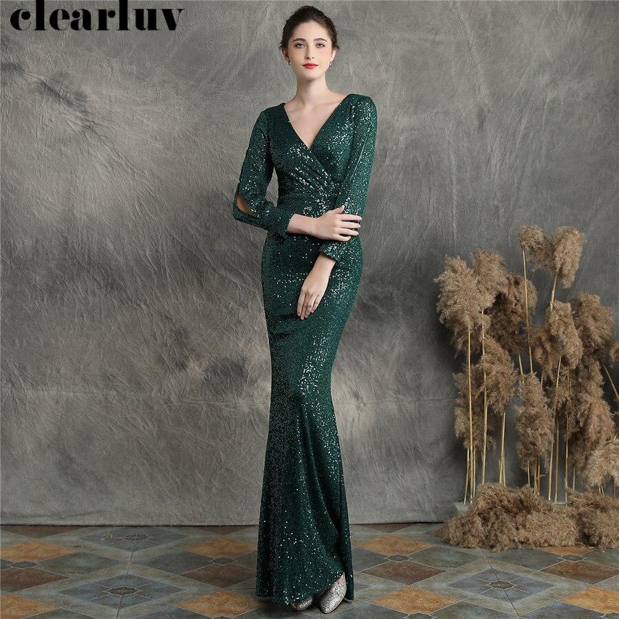 Deep V-neck Evening Dress Long Sleeves Women Party Dress DX240-1 2019 Plus Size Robe De Soiree Green Sequins Mermaid Prom Dress
