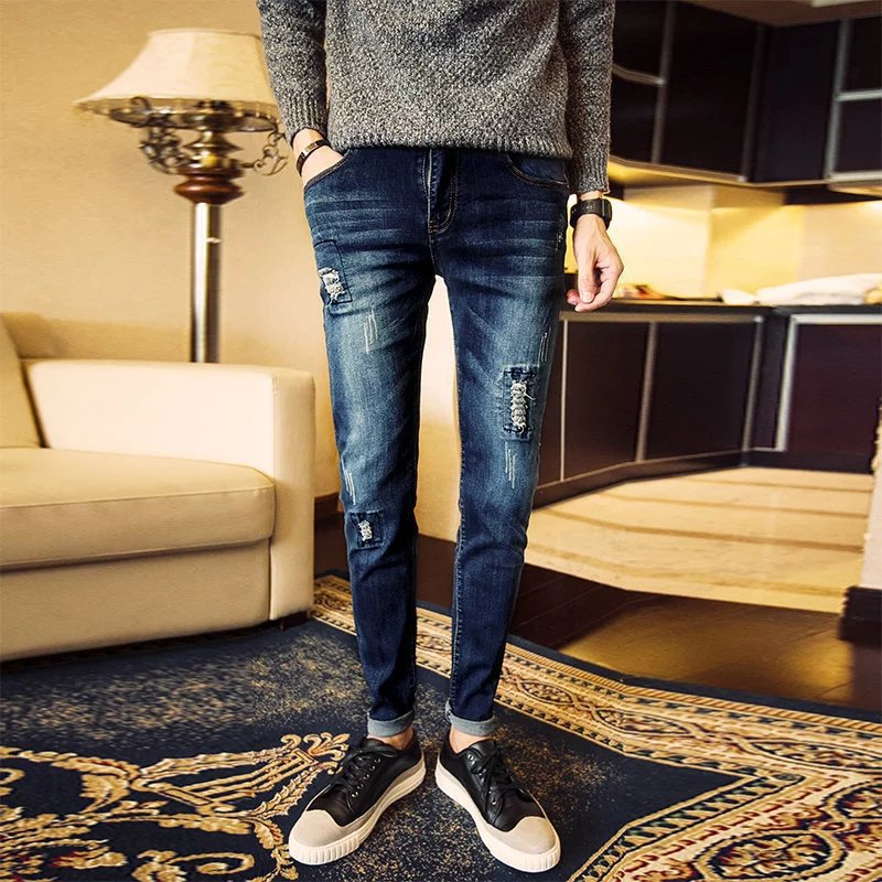 With Holes Jeans Men's Summer Thin Section Skinny Pants Trend Slim Fit Korean-style MEN'S Trousers Capri Pants Men's