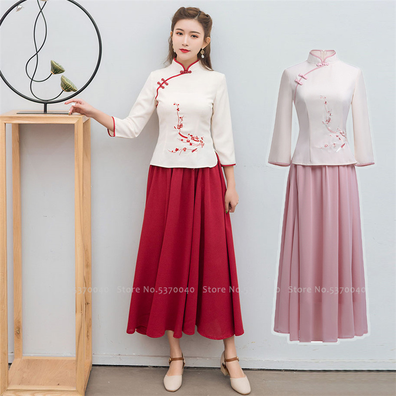 Traditional Chinese Hanfu Clothing For Women Qipao Skirts Cheongsam Tops New Year Vintage T-Shirt Tang Suit Stage Party Dresses