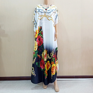 Image 1 - 2019 New Arrivals African Dashiki Flowers Pattern Print Dress Short Sleeve Casual African Dresses For Women