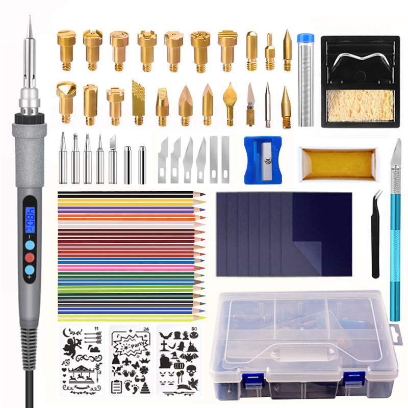 Wood Burning Tool Kit 60w LED Digital Display Thermostat Soldering Iron Set Pyrography Wood Pen Branding   Engraving   Welding