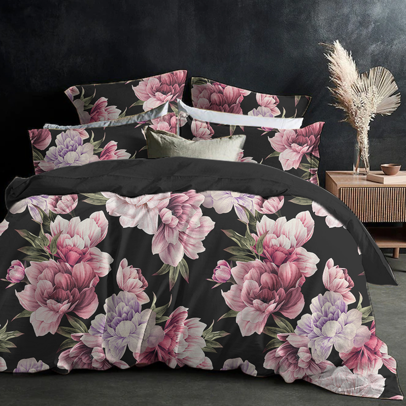European Flower Style Bedding Sets Black Duvet Cover with Pillowcases Queen King Single Double Twin Full Size 220x220 220x240