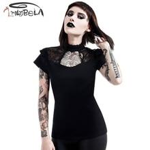 Imily Bela Gothic Balck Hollow Out T Shirt Women Turtleneck Halter Lace Splicing Backless Tshirt Summer Short Sleeve Bandage Top недорого