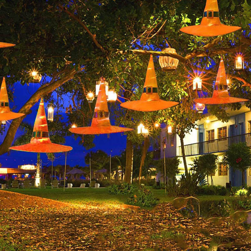 Halloween Outdoor Hanging Lamp Witch Hat Lamp Orange Halloween Outdoor Lamp Decoration 6 Pack