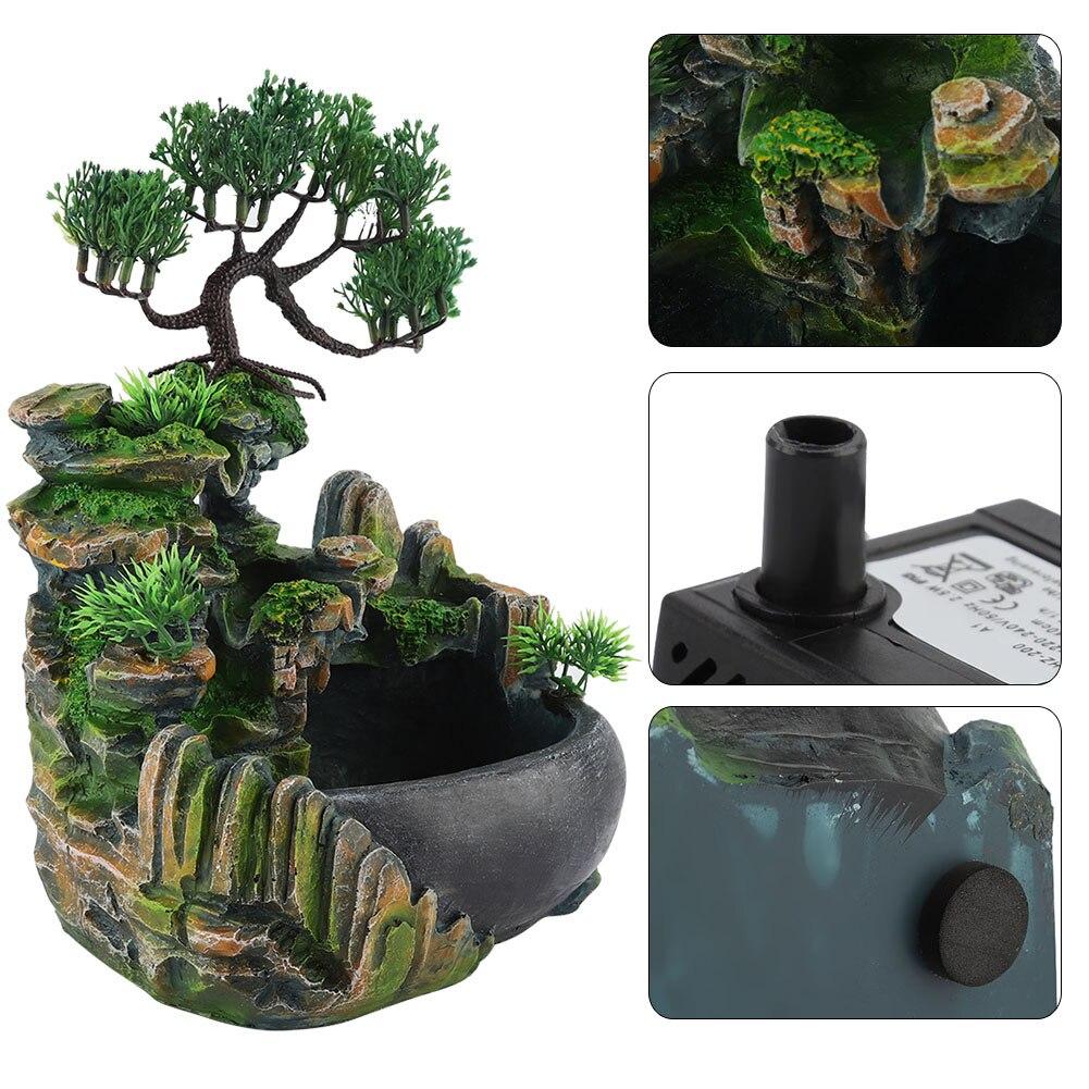 Office Desktop Fountain Waterfall Ornaments Small Rockery Flowing Water Feng Shui Wheel Greenery Home Decoration Humidifier
