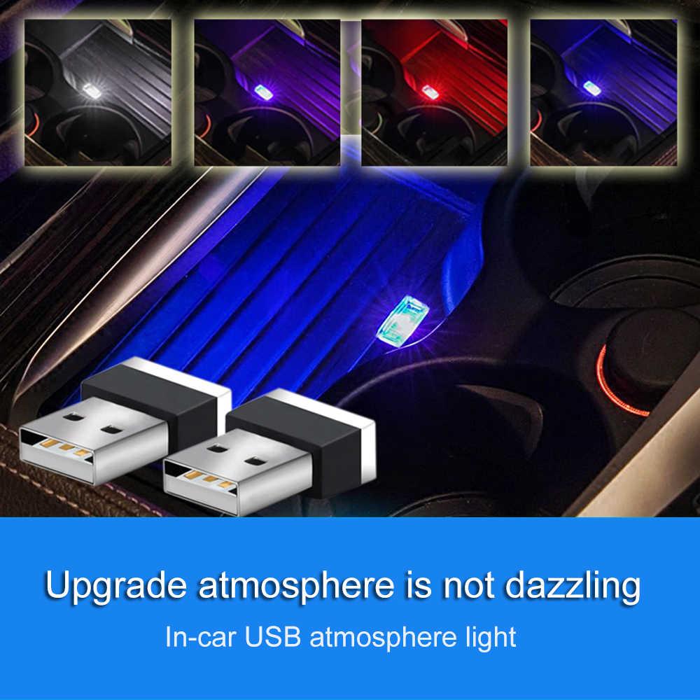 Mini luz usb led modelagem carro luz ambiente neon interior luz carro jóias (7 tipos de cores de luz)