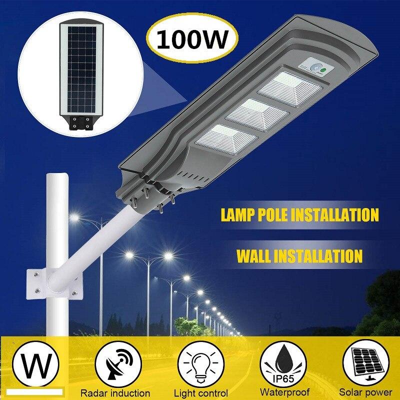 LED Solar Street Lights 100W Solar Motion Sensor/Radar Motion+Light/Remote Control Waterproof Outdoor For Garden Yard Wall Lamp