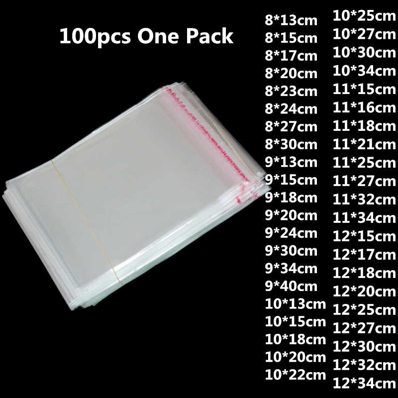 100pcs Clear Plastic Self Adhesive Bag Self Sealing Jewelry Accessories Candy Packing Resealable Gift Cookie Packaging Bag