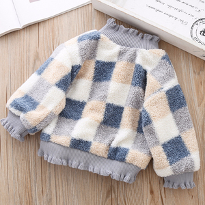 Image 4 - High Quality 1 5Y Girls Sweater for Children Clothes Winter Baby Kids Plaid Sweaters Plus Velvet Princess Pullover send Bag