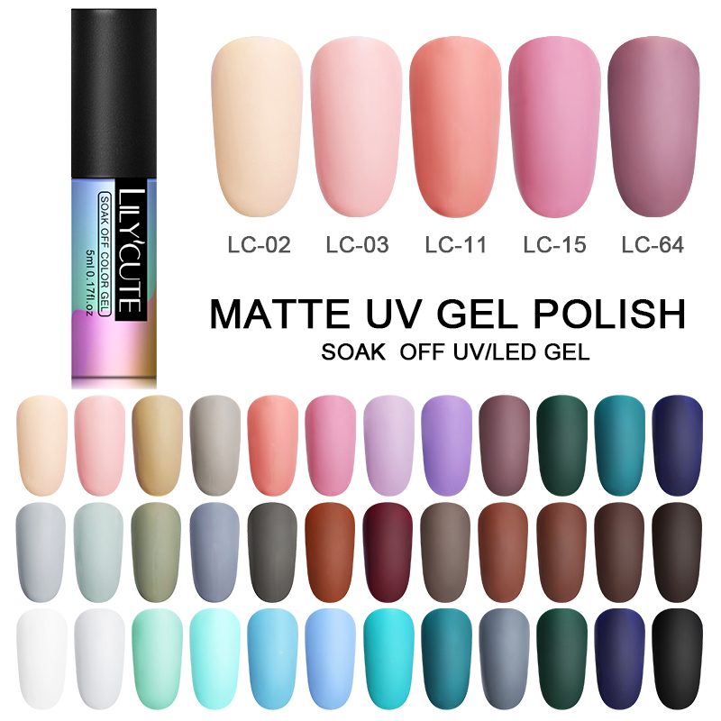 LILYCUTE Matte UV Gel Polish Autumn Winter Series Color Gel Soak Off UV Gel Long Lasting Semi Permanent Nail Art Gel Varnish 5ml