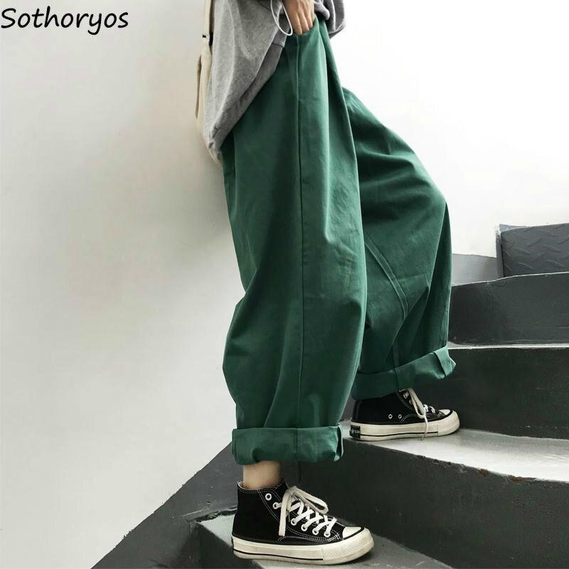 Для женщин брюки для девочек однотонные, стиль Харадзюку широкие брюки Для женщин свободного кроя стиль; Новинка; в стиле ретро; ботильоны длина универсальные корейский стиль Ulzzang повседневной моды|Брюки |   | АлиЭкспресс