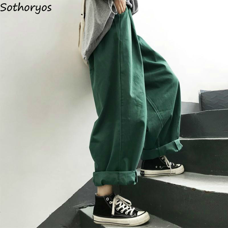 Women Pants Solid Harajuku Wide Leg Trousers Womens Leisure New Retro Ankle-length All-match Korean Style Ulzzang Daily Fashion