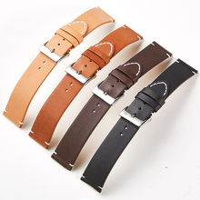 16mm Watch Strap Leather Watch Strap Double-sided Genuine Bottom Matte Leather Strap Black Brown With Stitching Quick Release no 1 s9 nfc smart watch with leather strap brown