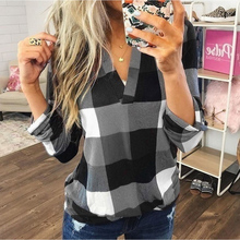 Loozykit Womens Long Sleeve Shirt V-neck Plaid Print Casual Loose Top Street Costume