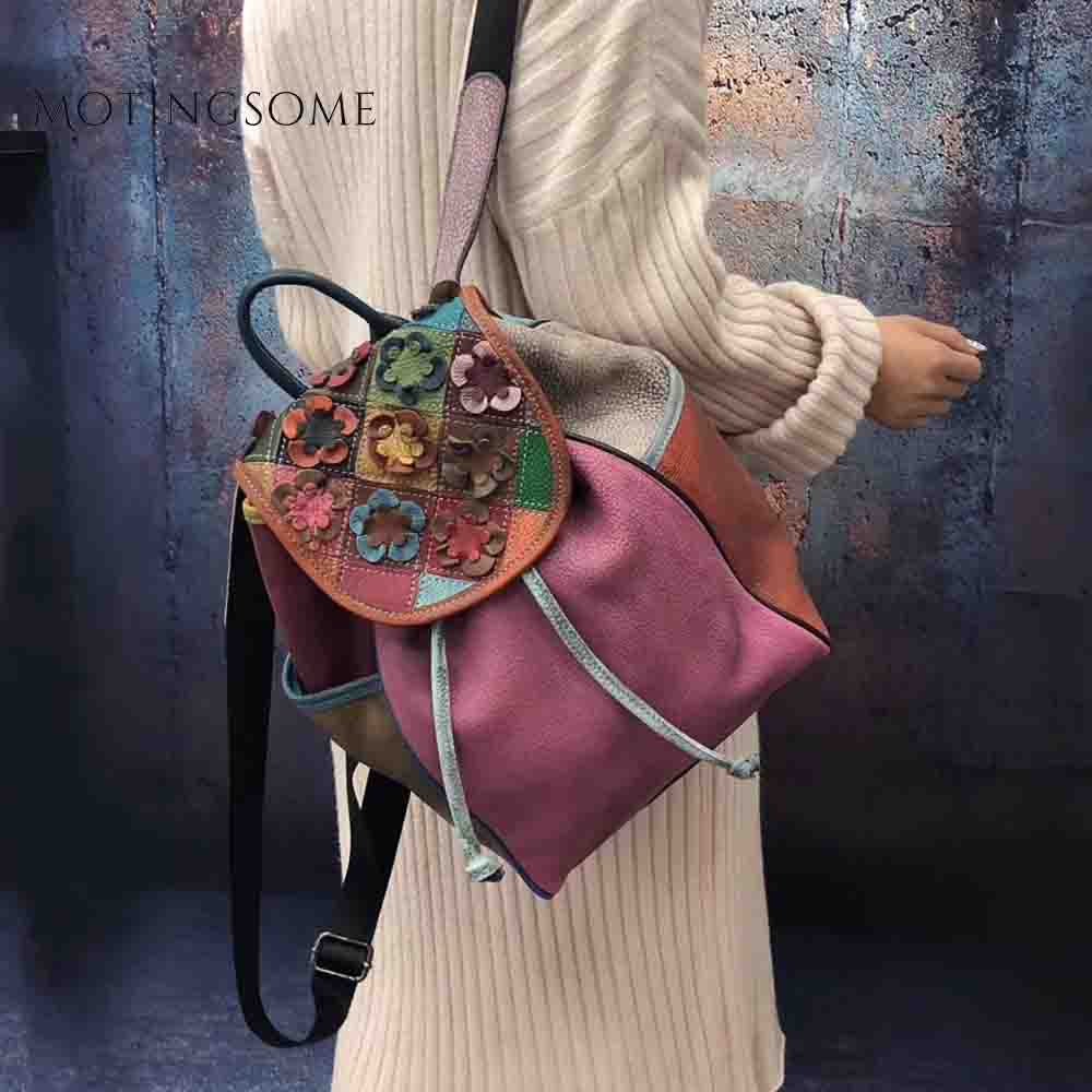 Women Genuine Leather Backpack Flower Pattern Patchwork Style Ladies Luxury Backpacks Fashion Mochila For Teenager Girl 2019 New