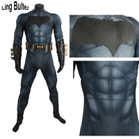 Ling Bultez High Quality Muscle Padding Batman Costume With Rubber Logo Batman Cosplay Costume For Halloween