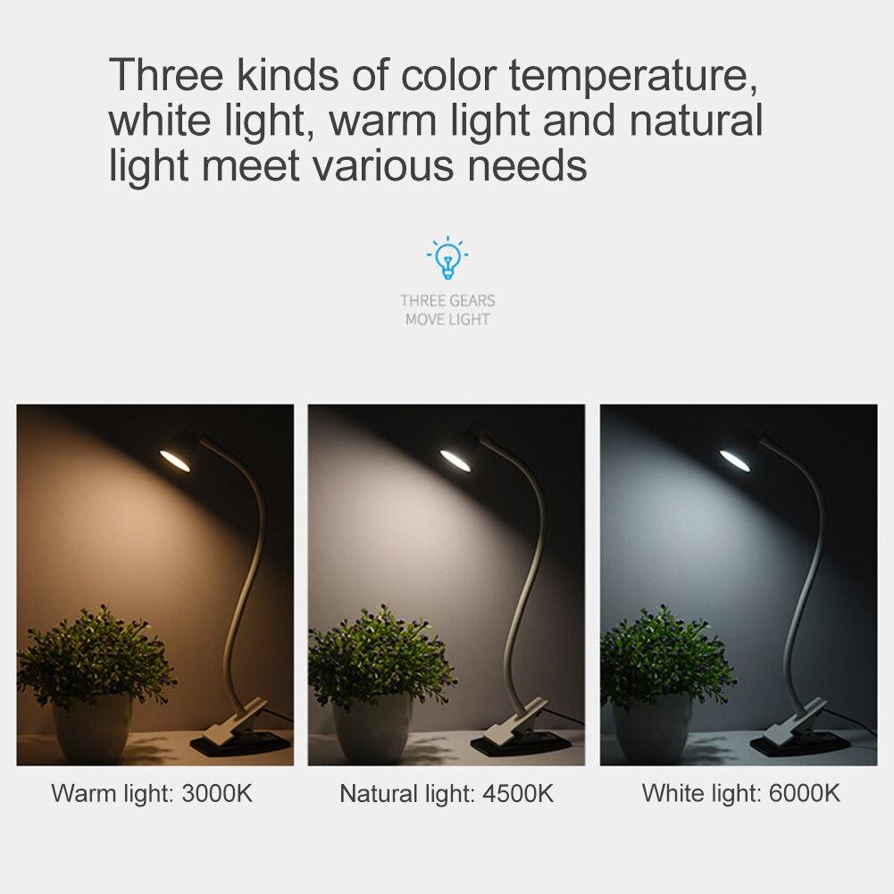 Usb зарядный зажим для чтения на регулируемой цветовой температуре 360 градусов вращающийся настольный свет настольная лампа домашняя отделка спальни