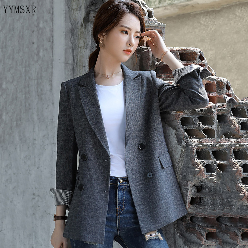 2020 Korean version of new professional wear high quality office blazer Fashion elegant check ladies jacket small suit feminine