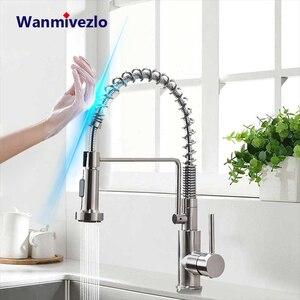 Image 1 - Akıllı dokunmatik mutfak musluk dokunmatik kontrol musluk bataryası duyarlı akıllı dokunmatik mutfak musluk dışarı çekin mutfak bahar musluk algılama musluk
