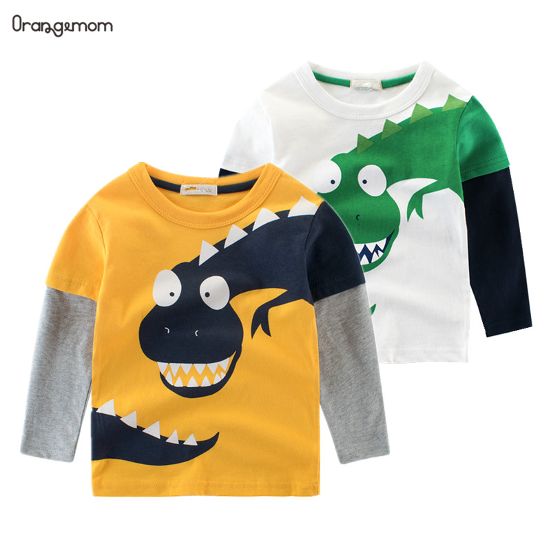 2020 Spring Children's Wear boy T-shirt wholesale big dinosaur pattern baby clothing mother kids clothes with 100% cotton title=