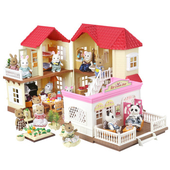 Forest Animal Villa Set DIY Toy Simulation Furniture Bedroom Set Halloween Toy Girl Play House Toys Family Model Children Gift