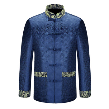 New Blue Chinese Traditional Men's Mandarin Collar APEC Leader Costume Jackets Coats Long Sleeve Chinese National Costume image