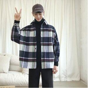 Image 4 - 2019 Frühling Und Herbst Neue Hong Stil Mode Casual Shirt Männer der Trend Lose Schulter Jacke Navy/Einfarbig S 2XL