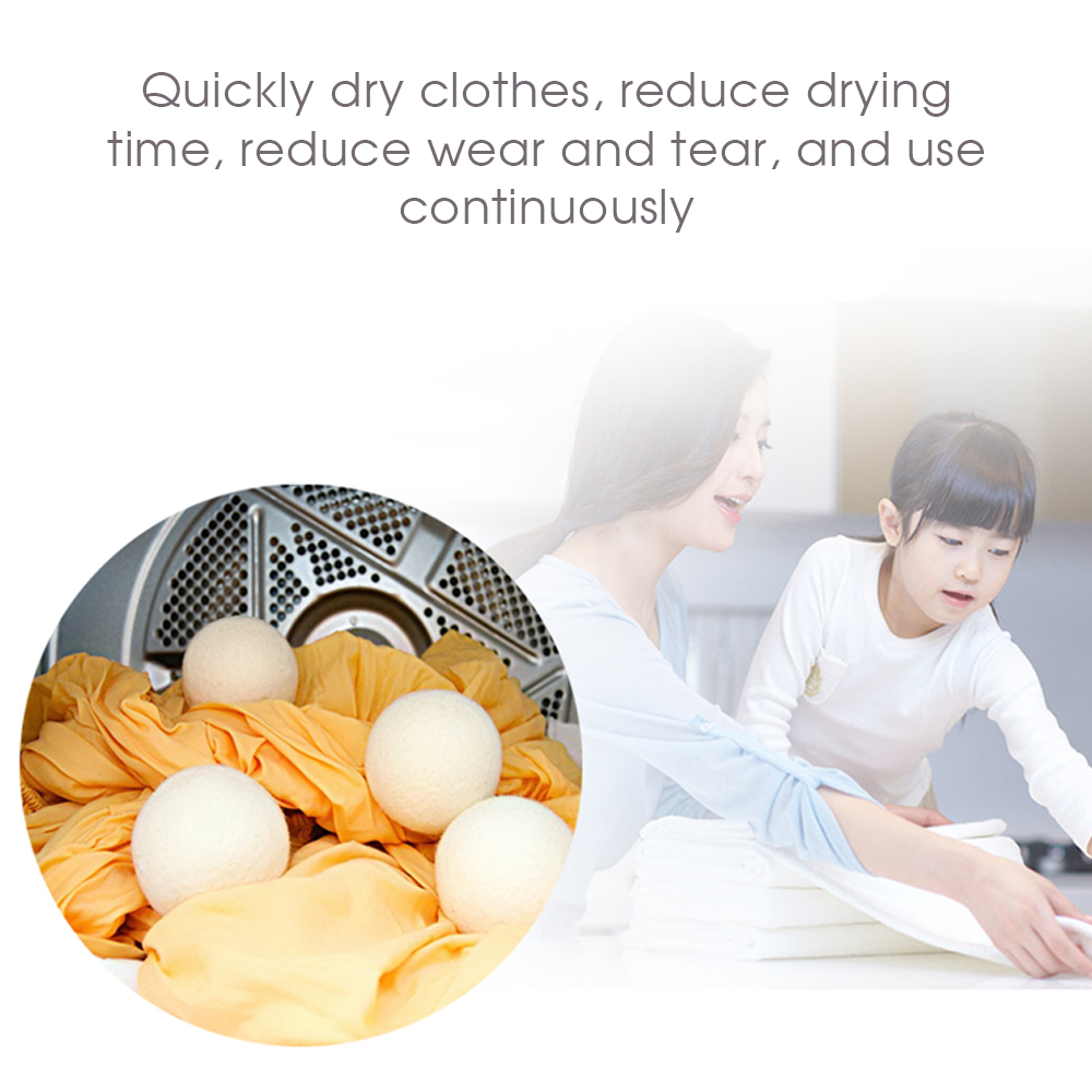 1pcs 6cm Natural Reusable Laundry Cleaning Ball Reduces Clothes Statics Reduces Dry Household Wool Dryer Laundry Balls