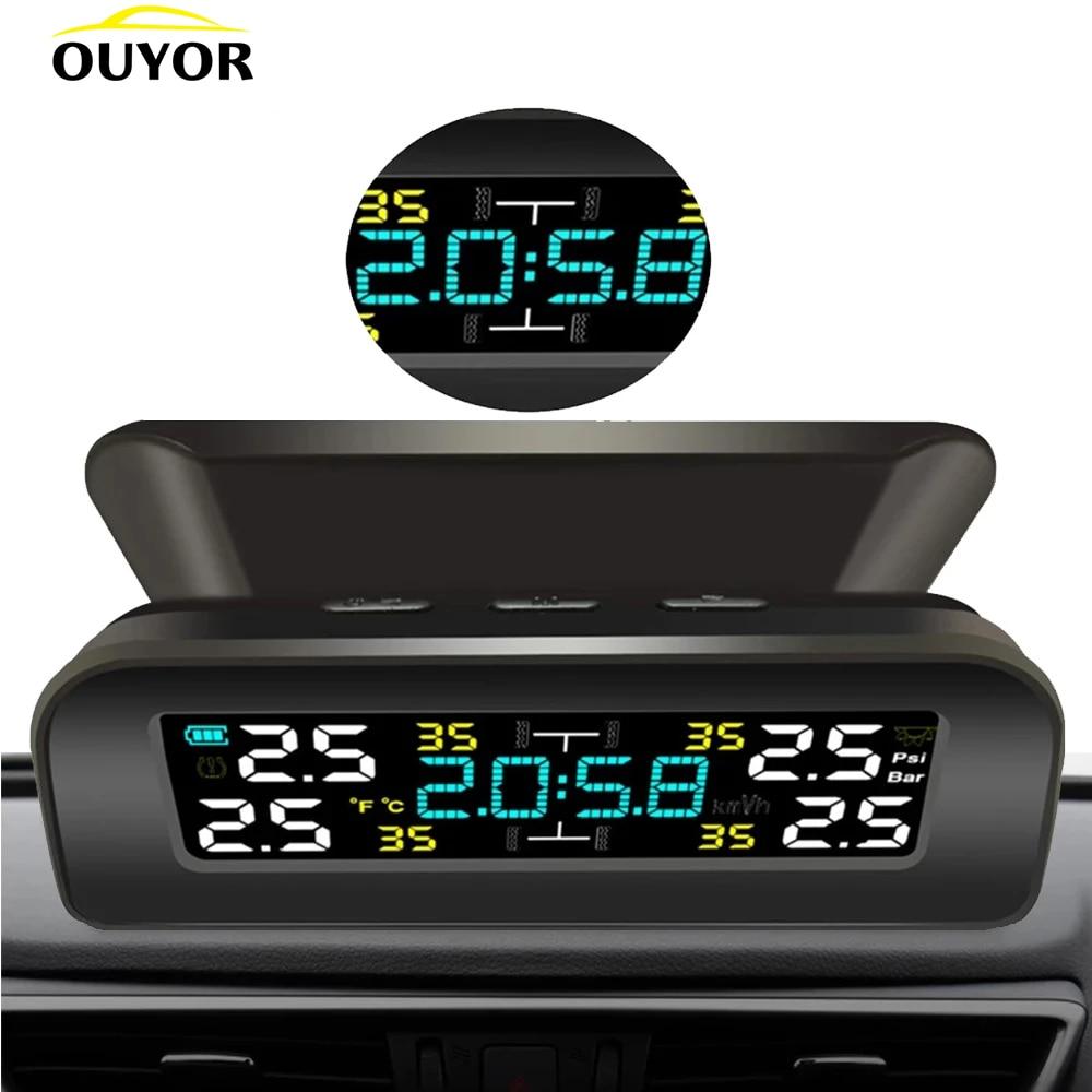 Pressure-Monitoring-System Clock Lcd-Display Tire Solar-Power 4-External-Sensor Universal Tpms