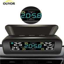 Tpms universal sem fio sistema de monitoramento pressão dos pneus energia solar relógio lcd display 4 sensores pressão dos pneus sensor externo