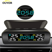 Pressure-Monitoring-System Clock Lcd-Display Tire Solar-Power 4-External-Sensor Universal Tpms