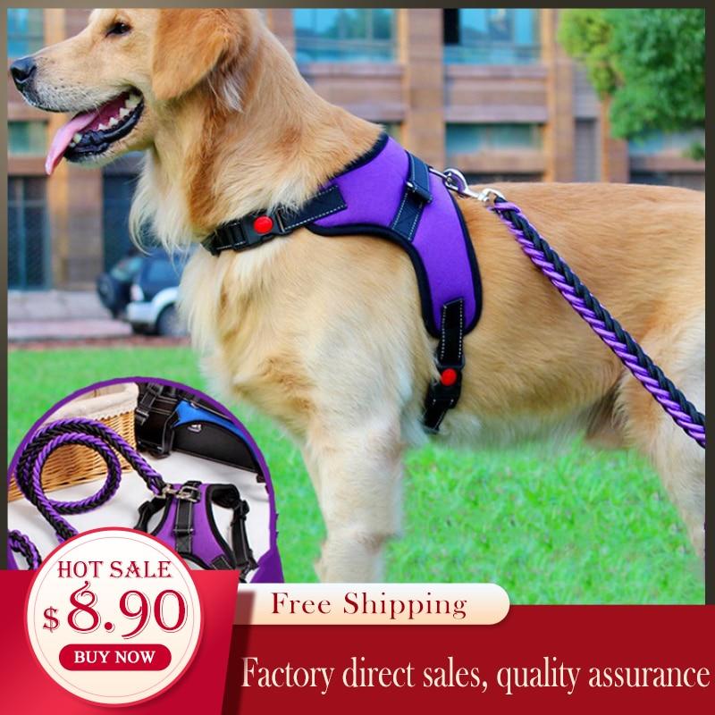 2019 Nylon Heavy Dog Pet Harness Collar Extra Big Large Medium Small Dog Harnesses Vest Leash Rope Set Husky Dogs Supplies