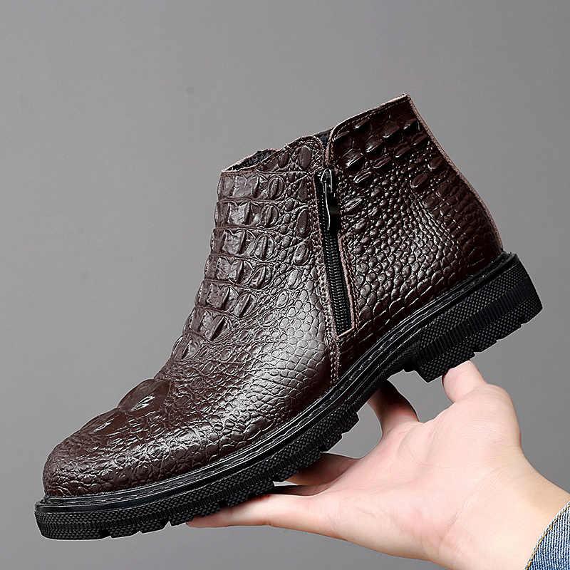 Hohe Qualität Leder Business herren Stiefel Herbst Winter Warme Pelz Schnee Stiefel Krokodil Muster Männer Stiefeletten männer schuhe