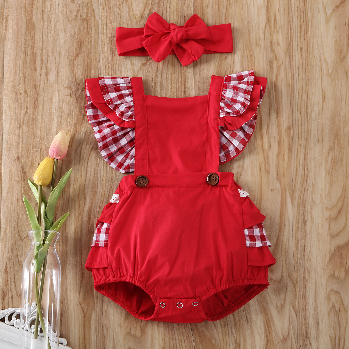 Pudcoco Newborn Baby Girl Clothes Plaids Sleeveless Ruffle Romper Jumpsuit Headband 2Pcs Outfits Cotton Clothes