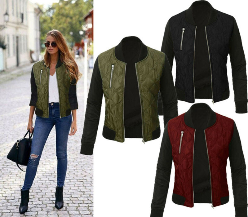 Plus Size 2019 Autumn Winter Womens <font><b>Bomber</b></font> <font><b>Jacket</b></font> <font><b>Ladies</b></font> Cotton Zip Up Biker Quilted Patchwork Fashion Coat Tops S-3XL image