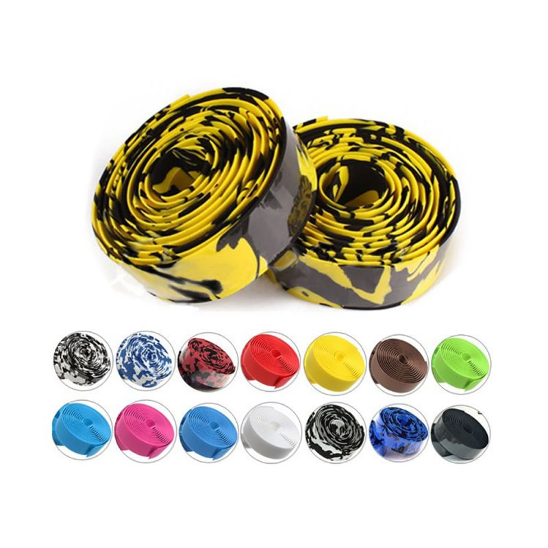 Colorful Cycling Handle Belt Bike Bicycle Cork Handlebar Tape Wrap +2 Bar Bicycle Parts Accessories