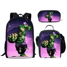 Thikin The Avengers Marvel Hulk 3Pcs/set School Bags Children Bag for Boys Backpack Teen Girls Kids Book