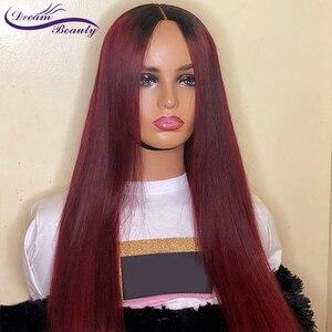 Image 4 - 1B/бордовый 13x4 кружевной передний женский парик со шнуровкой, прямые бразильские парики без повреждений, предварительно выщипанный Полный парик на шнуровке
