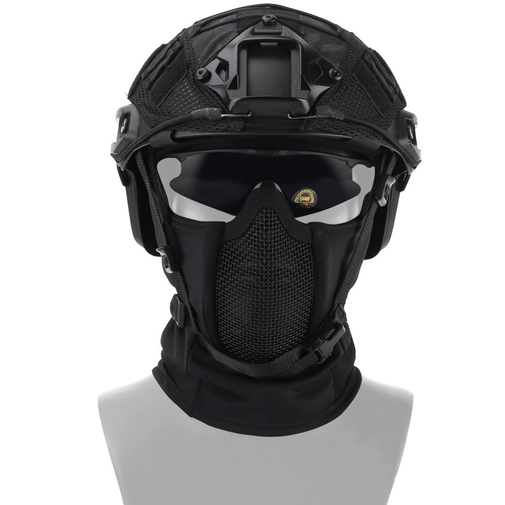 Tactical Airsoft Paintball Mask Outdoor CS Shooting Hunting Headgear Balaclava Breathable Mesh Protective Helmet Mask Equipment