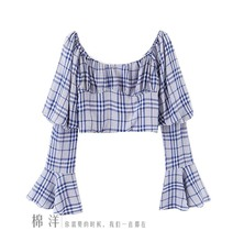 NiceMix 2019 New Blue Plaid Trumpet Sleeve Long Sleeve Short Crop Top Shirt Female T Shirt Women Stranger Things T-shirt Tshirt layered trumpet sleeve botanical top