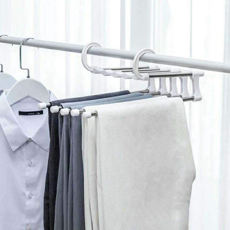 Adjustable Trouser Storage Rack Pants Hanger Tie Storage Shelf Closet Organizer Stainless Steel Clothes Hanger Drying Racks New
