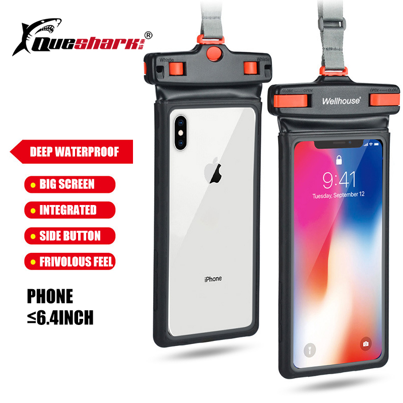 6.4inch Waterproof Touchcreen Phone Bag Overall View 3D Seaside Camping Skiing Swimming Diving  Shockproof Phone Case Holder