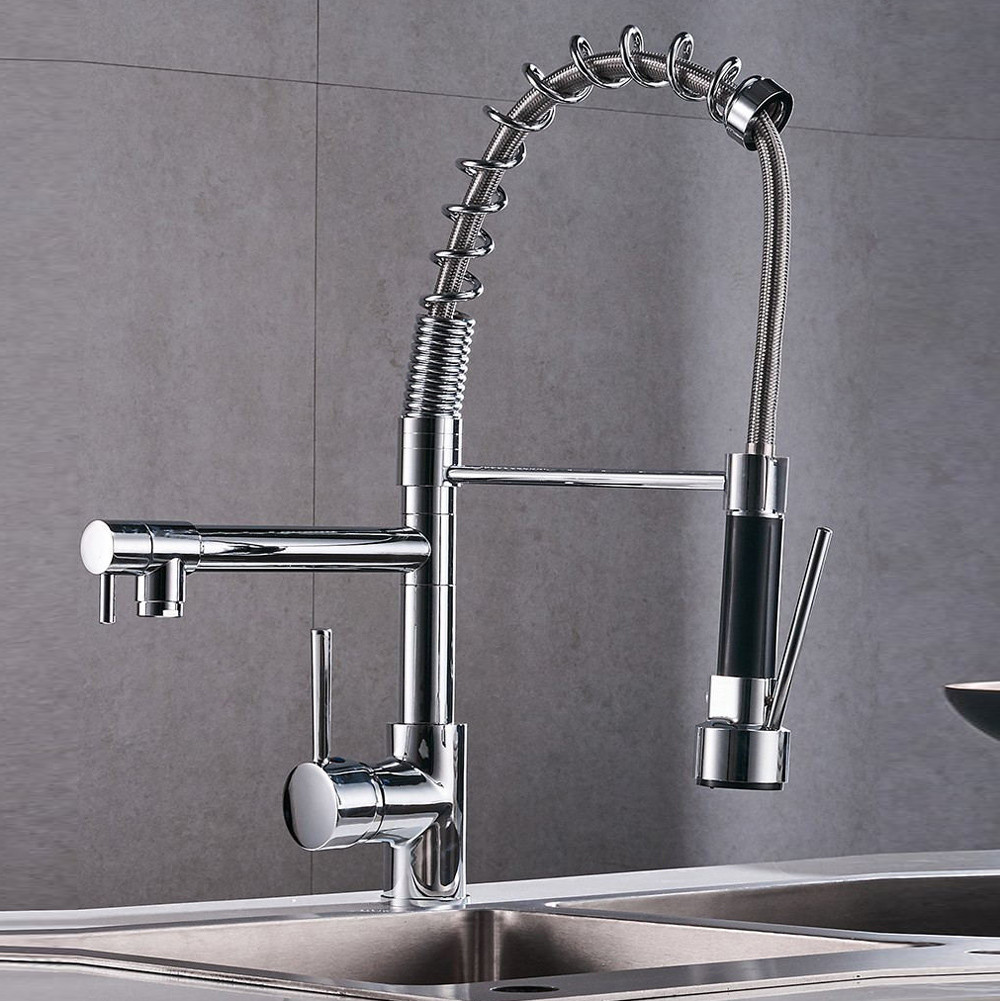 H72453882b28a45b387216b8979eb1848O Uythner Chrome Finish Kitchen Faucet Dual Spout Kitchen Sink Crane Deck Mount Spring Kitchen Mixer Tap Kitchen Hot Cold Water#m