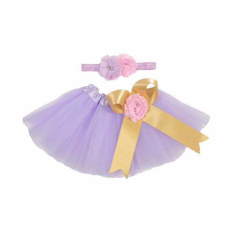 Newborn Baby Toddler Colorful Rainbow Tutu Skirt + Flower Headband Photo Photography Costume Prop
