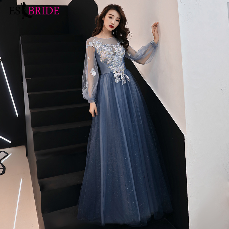 Elegant Evening Dress Appliques Beading Flowers Beautiful Formal Prom Dresses Blue Lantern Sleeve Long Party Gown ES3259