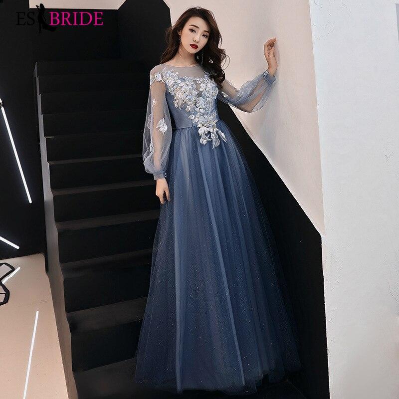 Elegant Evening Dress Appliques Beading Flowers Beautiful Formal Prom Dresses Blue Lantern Sleeve Long Party Gown ES3259